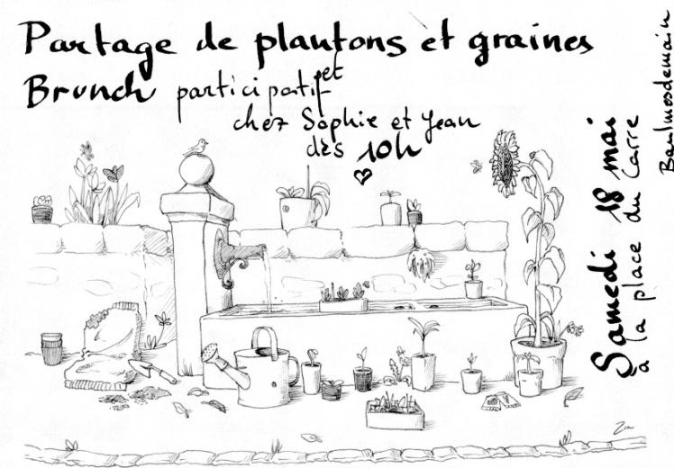 Affiche partage de plantons et graines + brunch